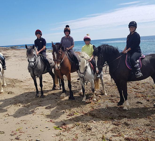 happy riders at the beach trek Wexford Ireland
