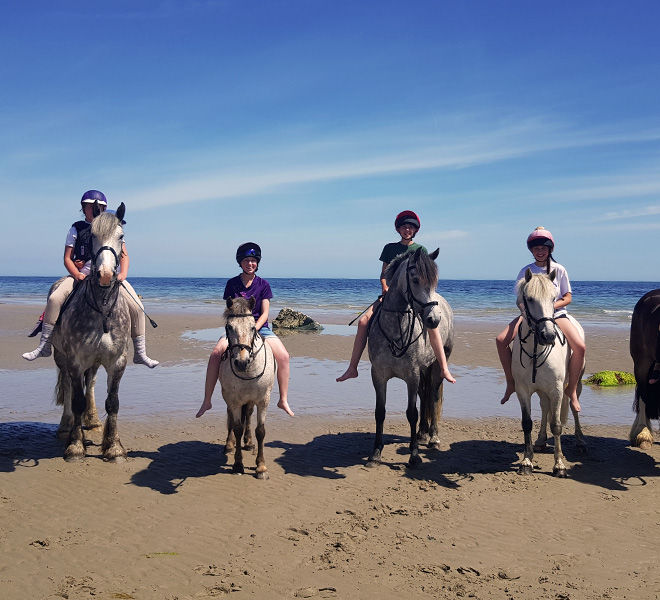 happy riders and ponies at the beach